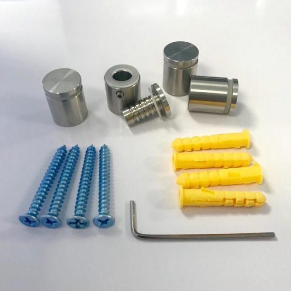 RVS afstandhouders (304) met inbus, 15x15mm - set van 4 stuks