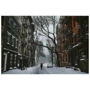 Dorpsstraat in de winter